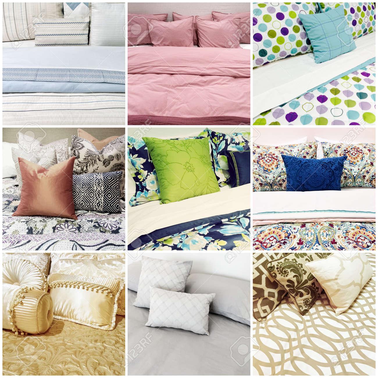 linge de lit neuf Lits Avec Différents Styles De Linge De Lit. Collage De Neuf  linge de lit neuf