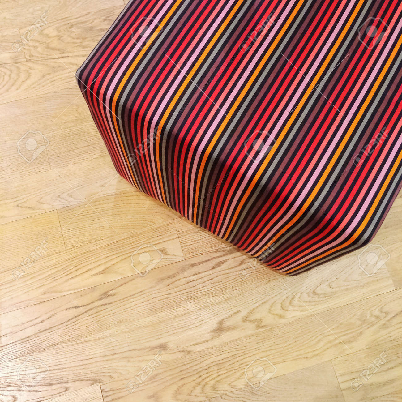 Tremendous Colorful Striped Cube Chair On Wooden Floor Modern Design Furniture Machost Co Dining Chair Design Ideas Machostcouk