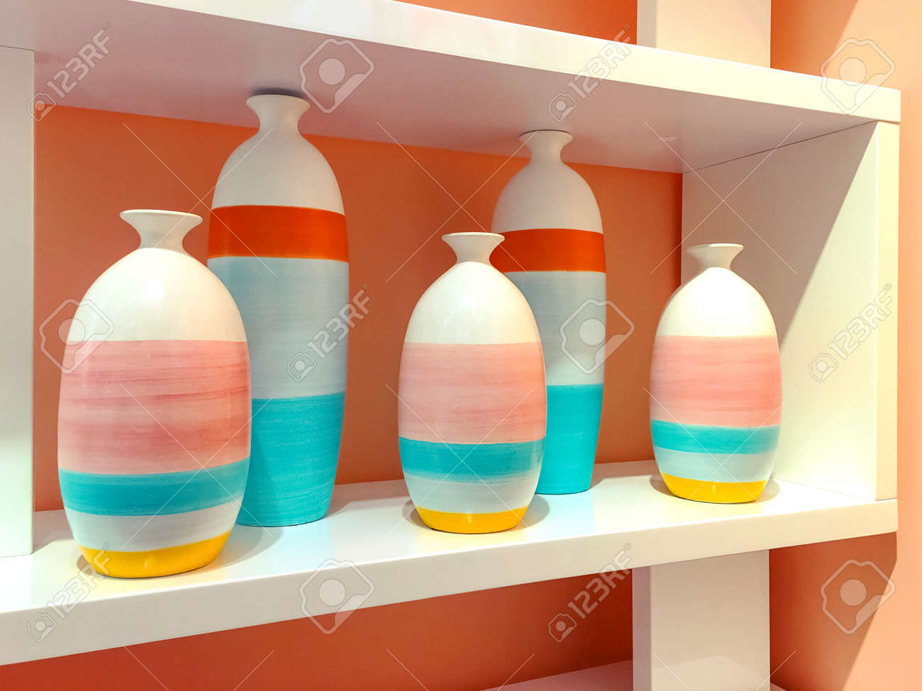 brightly painted furniture. Brightly Painted Ceramic Vases On A Shelf. Home Decor. Stock Photo - 77496821 Furniture T