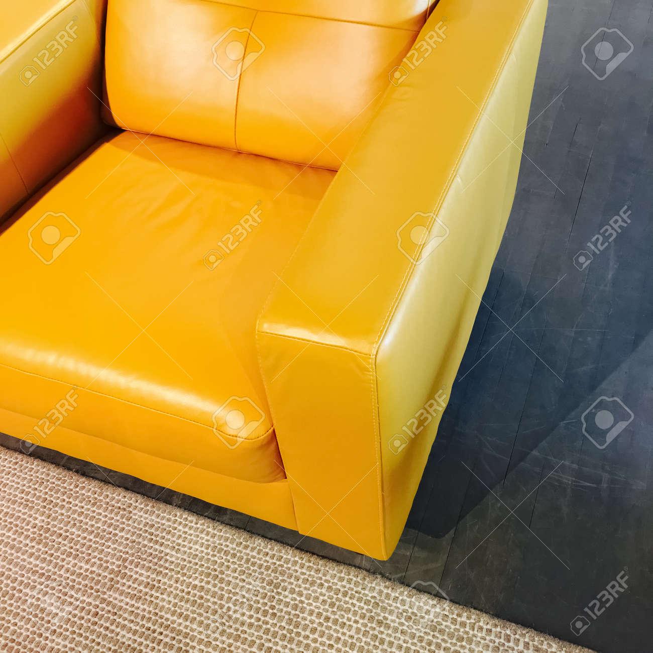 bright yellow leather armchair stylish modern furniture stock