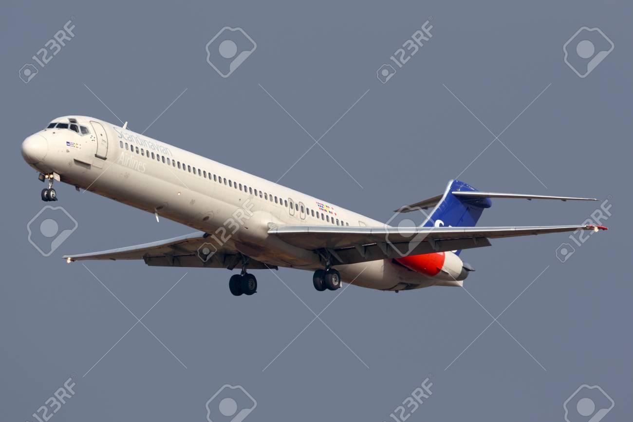 Sheremetyevo, Moscow Region, Russia - October 26, 2013: Scandinavian Airlines System McDonnell Douglas MD-82 LN-RMM landing at Sheremetyevo international airport. - 85594326