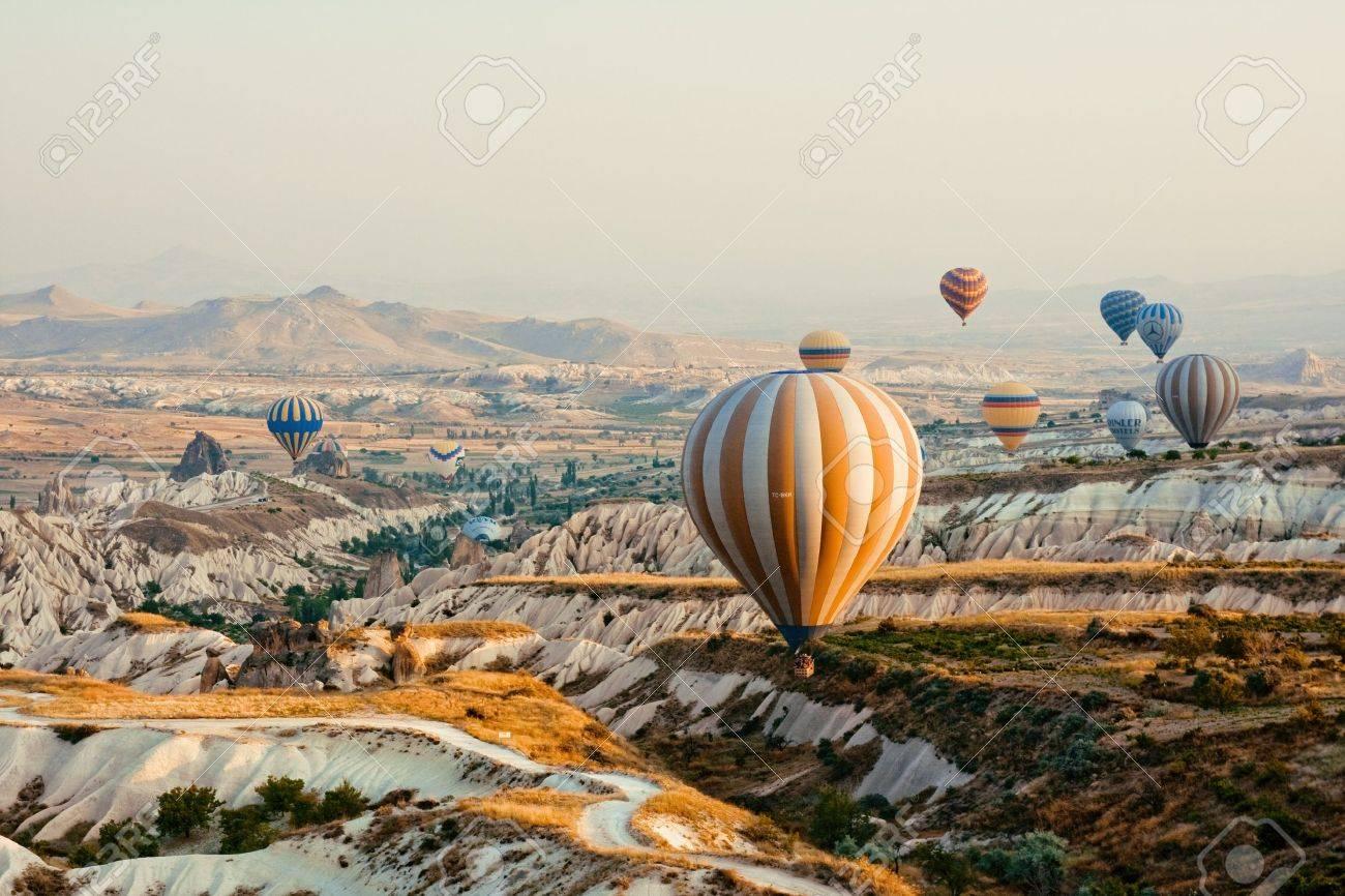 Hot air balloon flying in Cappadocia,Turkey Stock Photo - 15285229