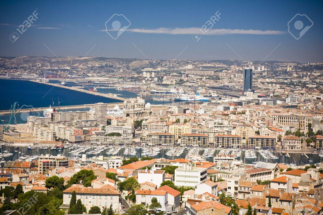 the amazing areal view on Marseille from mountain where is church od Notre Dame de la Guarde , France Stock Photo - 17463129