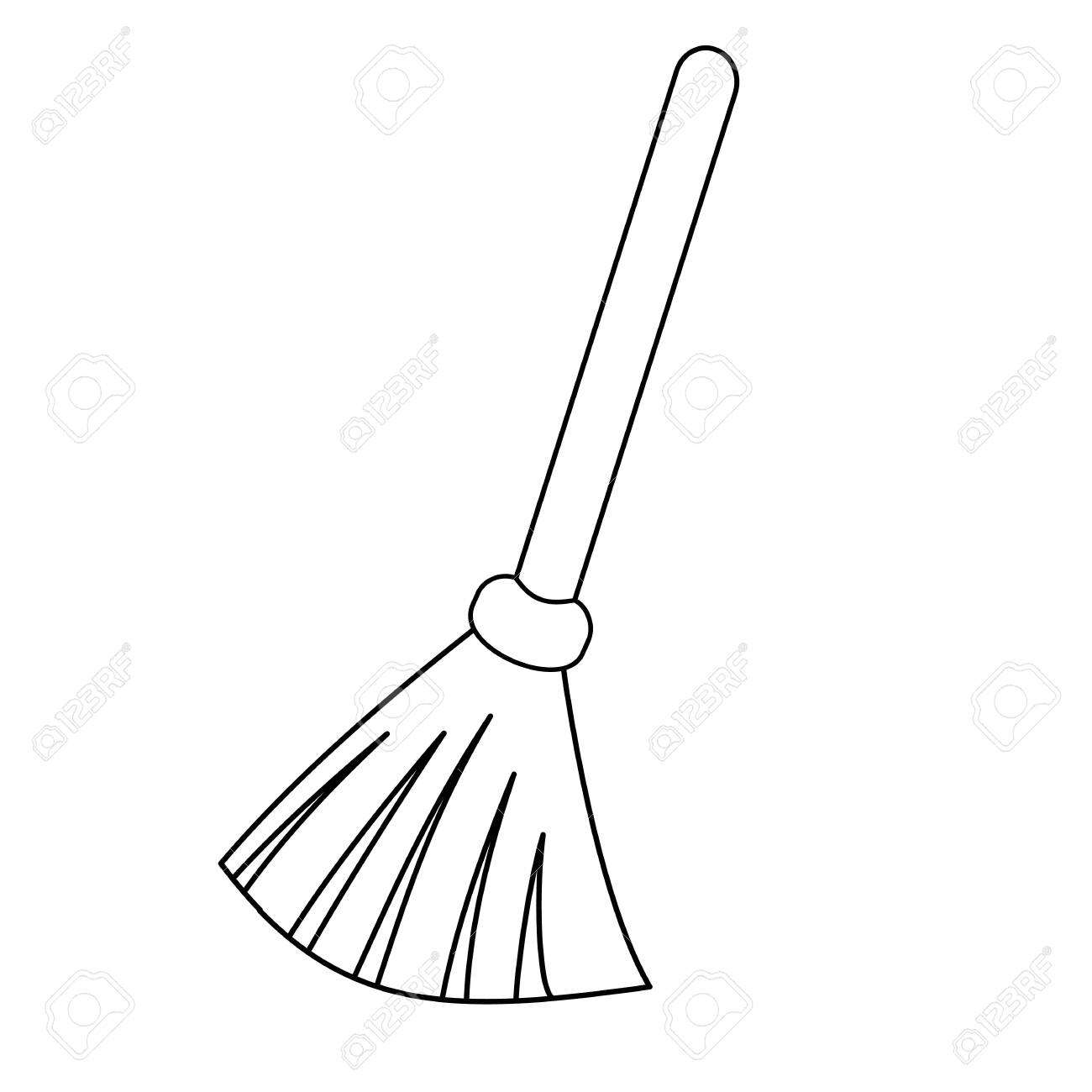 Broom outline icon. Besom with stick simple line vector template. Linear style sign for mobile concept and web design. - 130597785