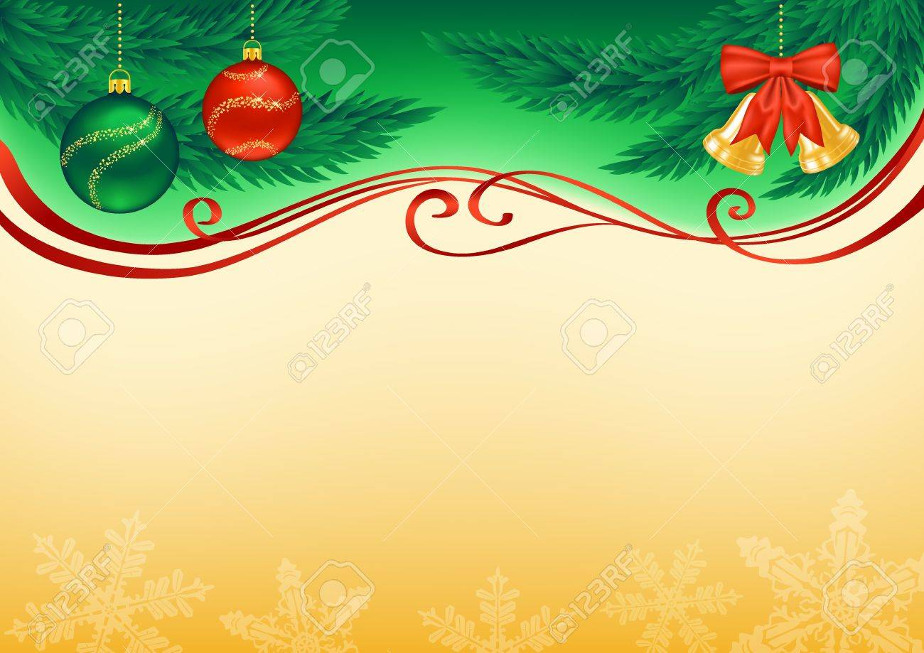 Christmas background decorated with branches, baubles, bells, snowflakes and ribbons - 16125991