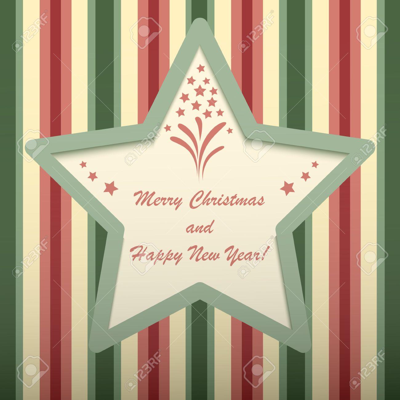 tarjeta de navidad con marco en forma de estrella foto de archivo