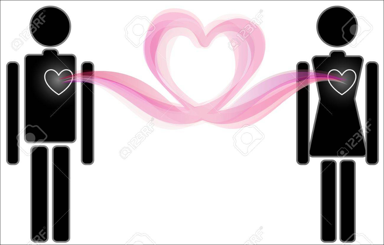 Man and woman Heart connection Stock Vector - 17068526
