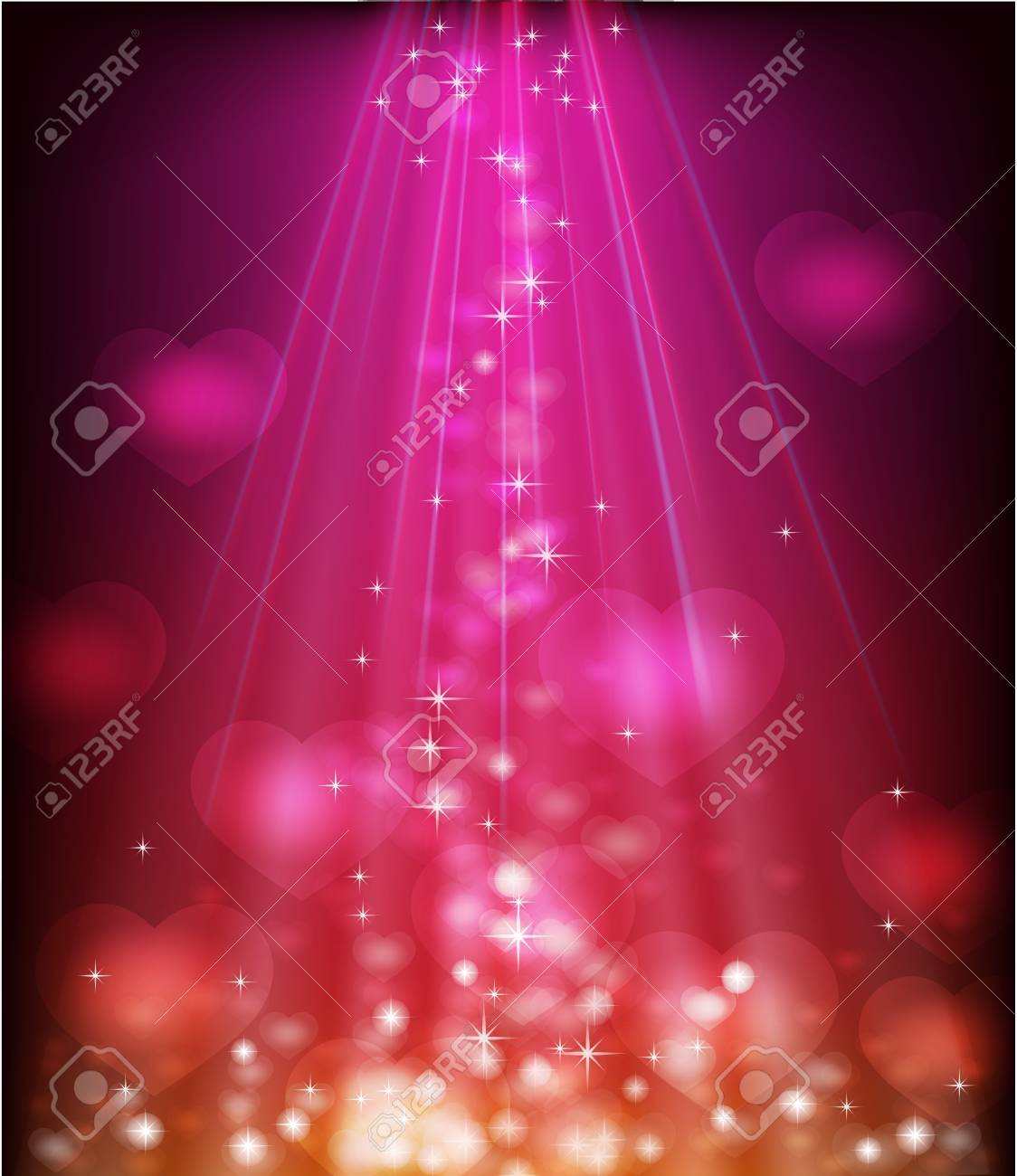 Abstract glowing purple background with shiny hearts Stock Vector - 17216125