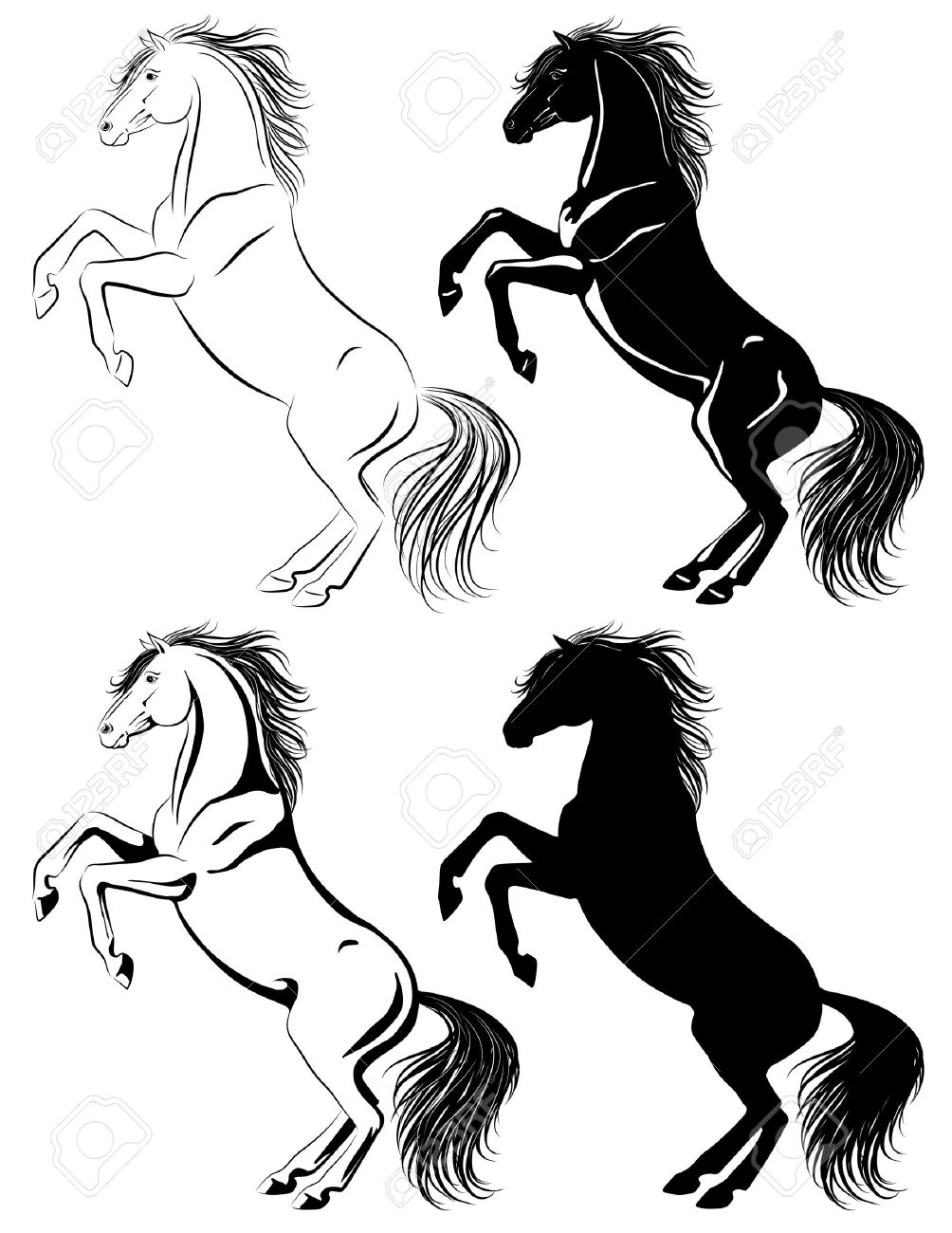Set Of Rearing Horse Illustrations In Different Techniques Royalty