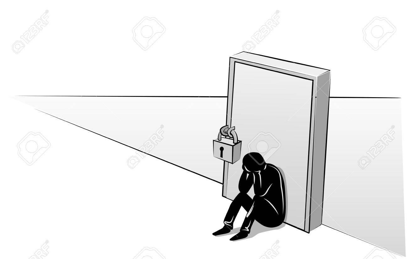 Depressed man sitting at the closed door Stock Vector - 19314373