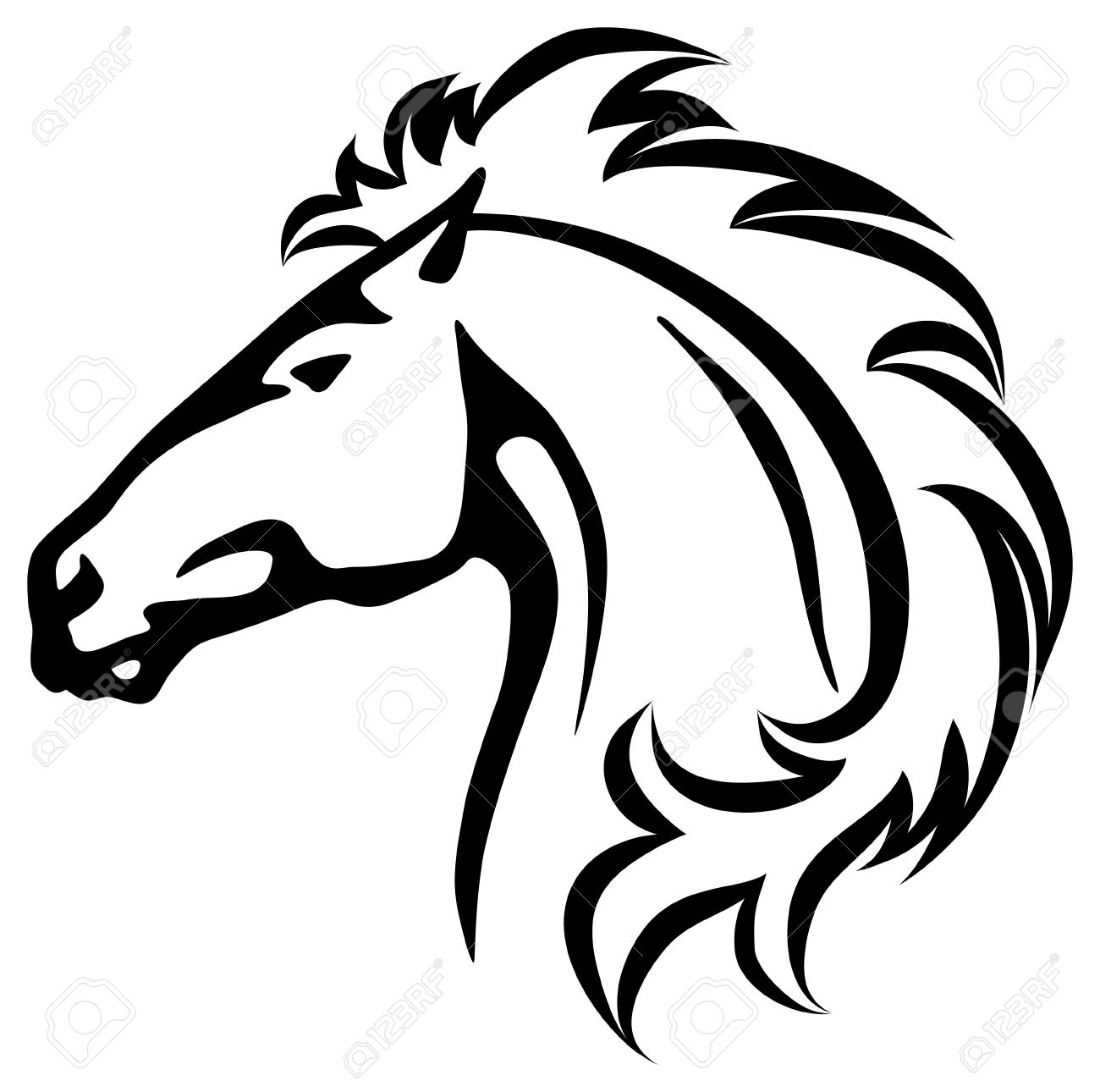 Vector Illustration Of A Wild Horse Head Royalty Free Cliparts Vectors And Stock Illustration Image 20654477
