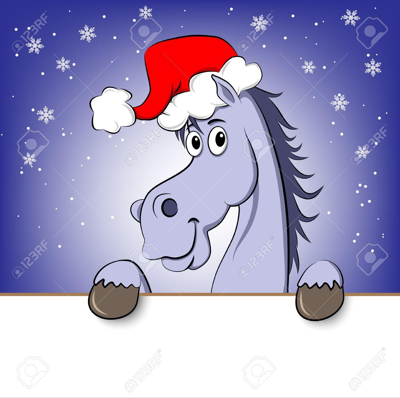 Banque dimages , Drôle de cheval de dessin animé bleu chapeau de Père Noël