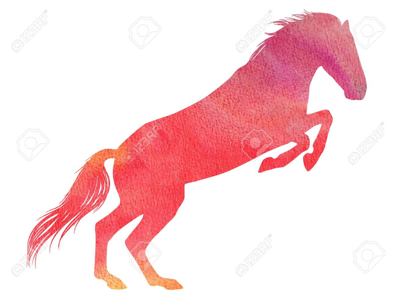 jumping horse silhouette in watercolor technique red colour stock