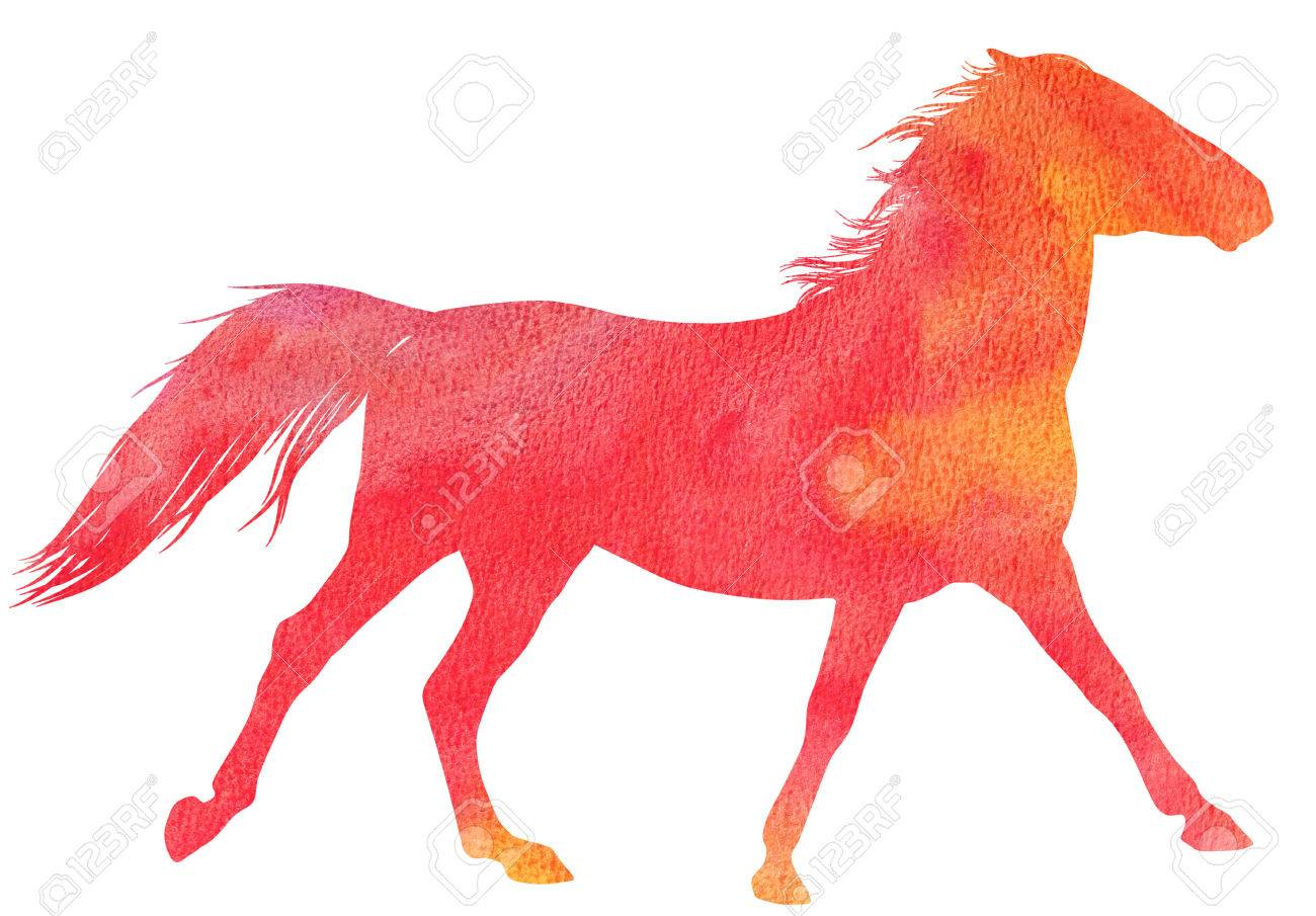 running horse silhouette in watercolor technique red colour stock