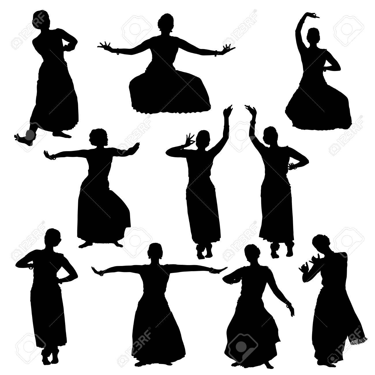 Silhouettes Of Woman Performing Indian Dance Bharatanatyam Royalty Free Cliparts Vectors And Stock Illustration Image 61593613