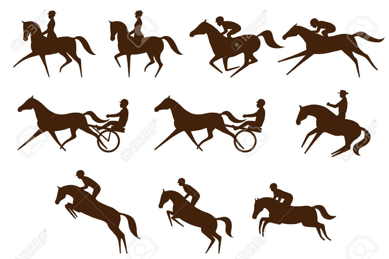 Set of 10 different equestrian sports symbols - 69734679