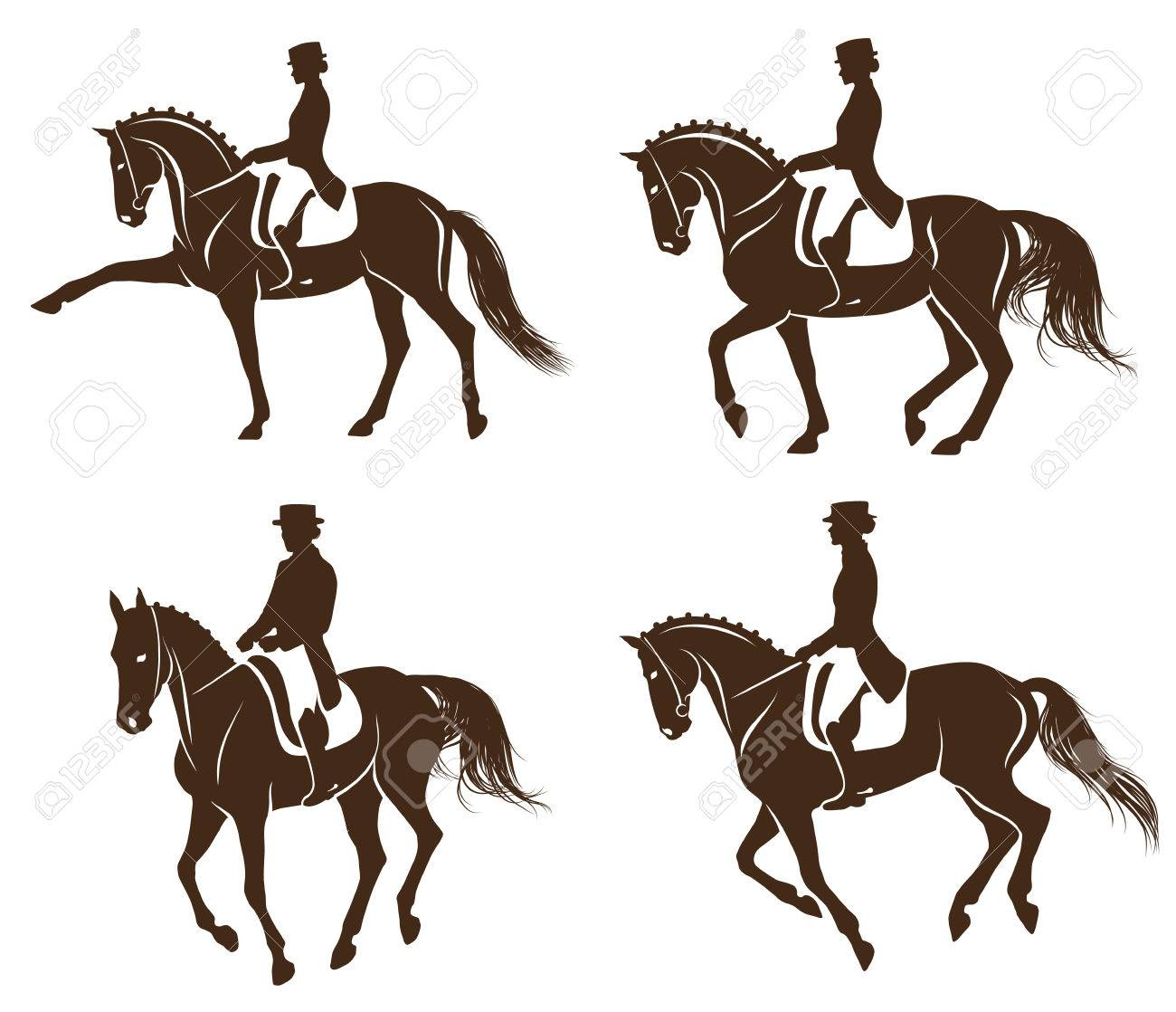4 detailed silhouettes of horses with rider performing dressage - 69734682