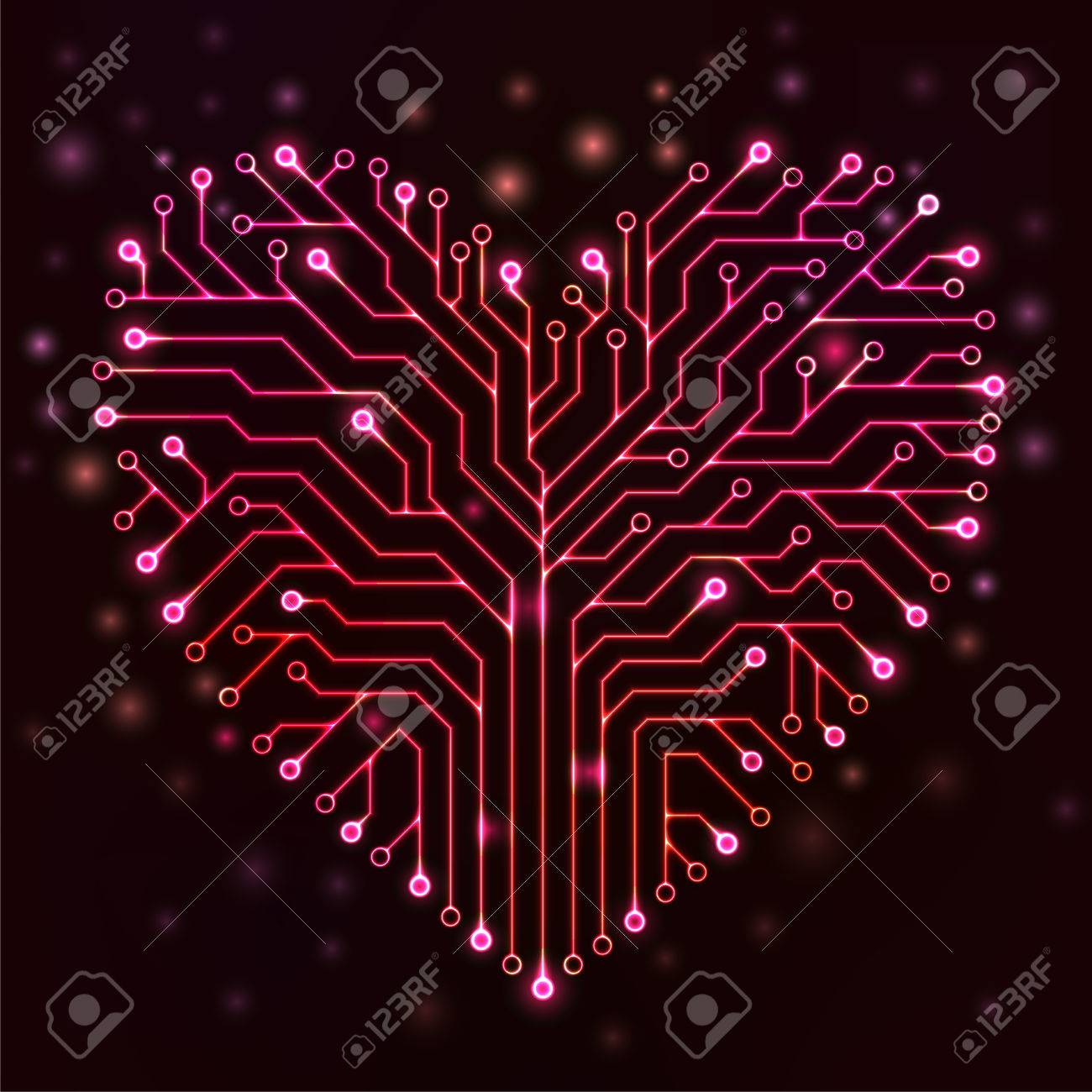 984 Pcb Background Stock Vector Illustration And Royalty Free Circuit Board Binary Code Clipart Transmission Of Printed In The Shape A Heart With Red Neon Lights