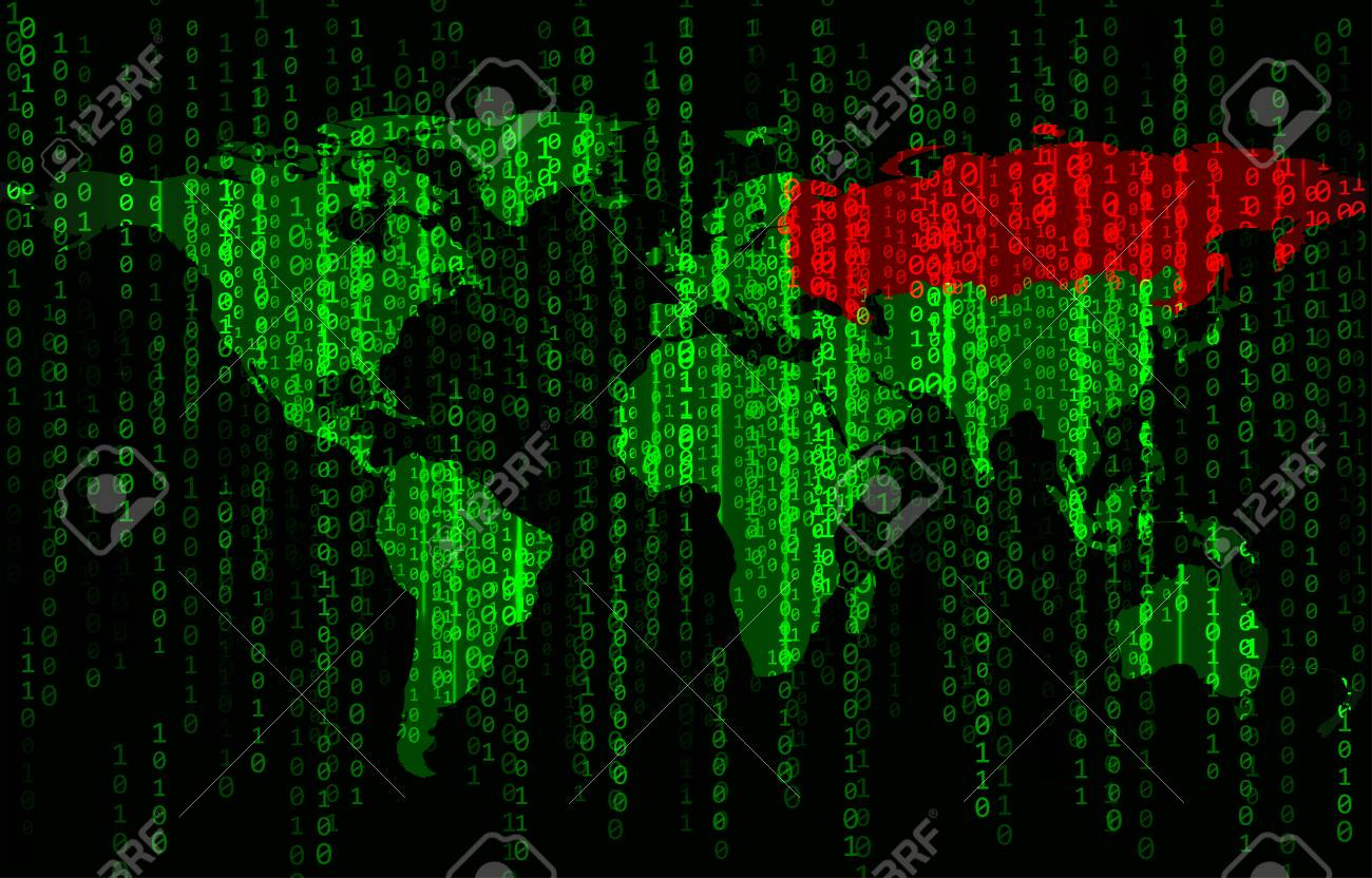 Green binary code background with world map and Russia