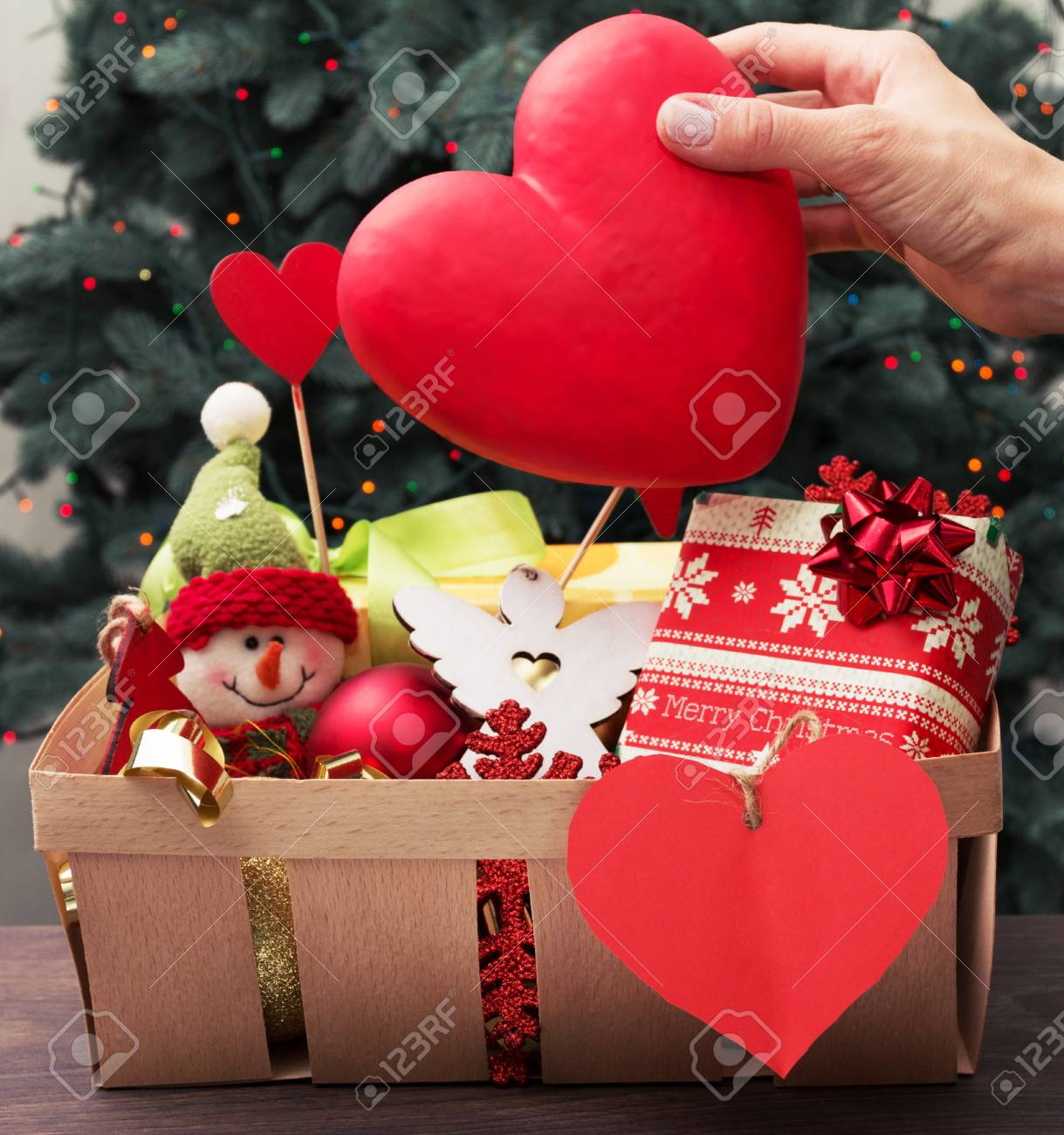basket full of christmas decorations stock photo 33447035