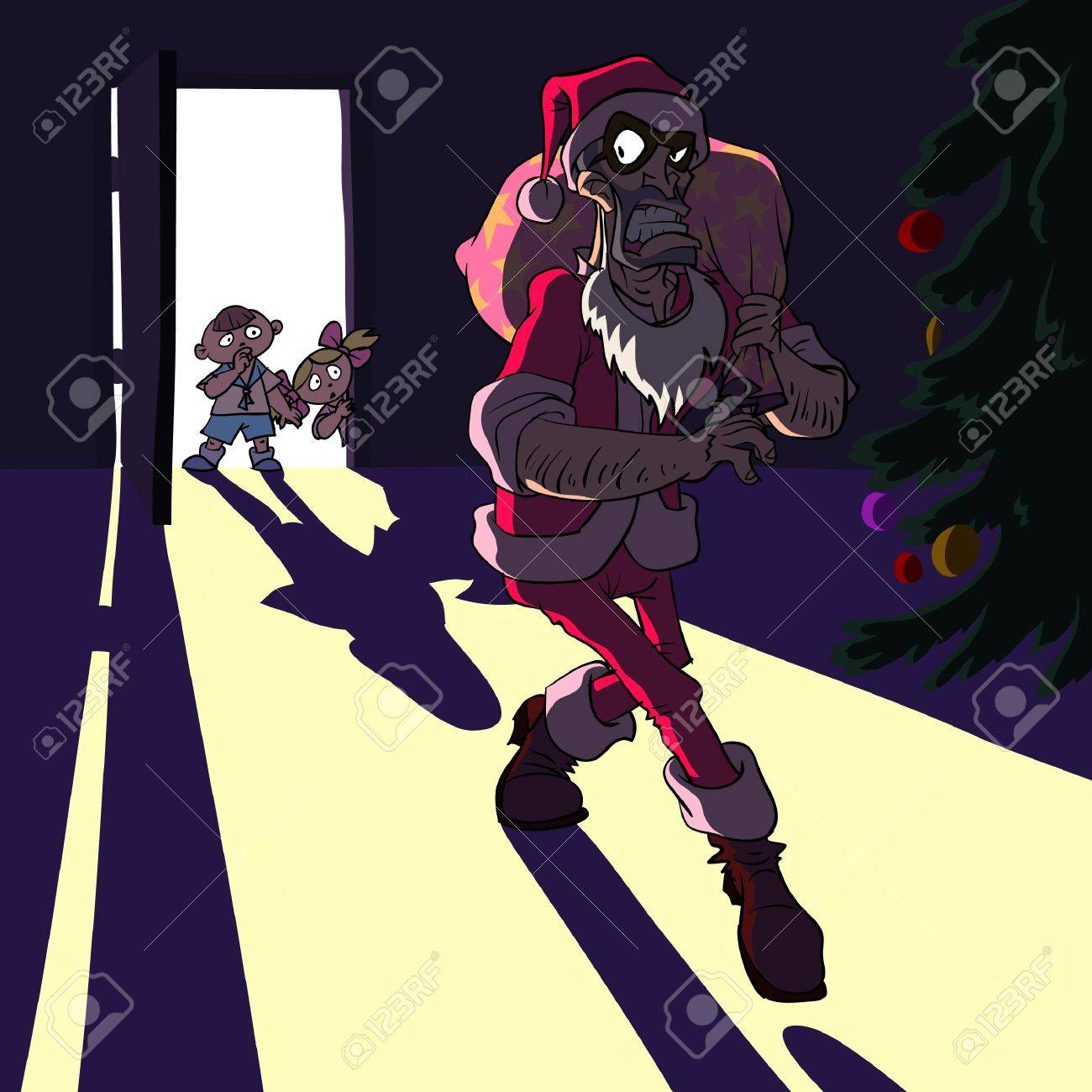 Thief dressed as Santa Claus in a child room. Stock Vector - 8385209
