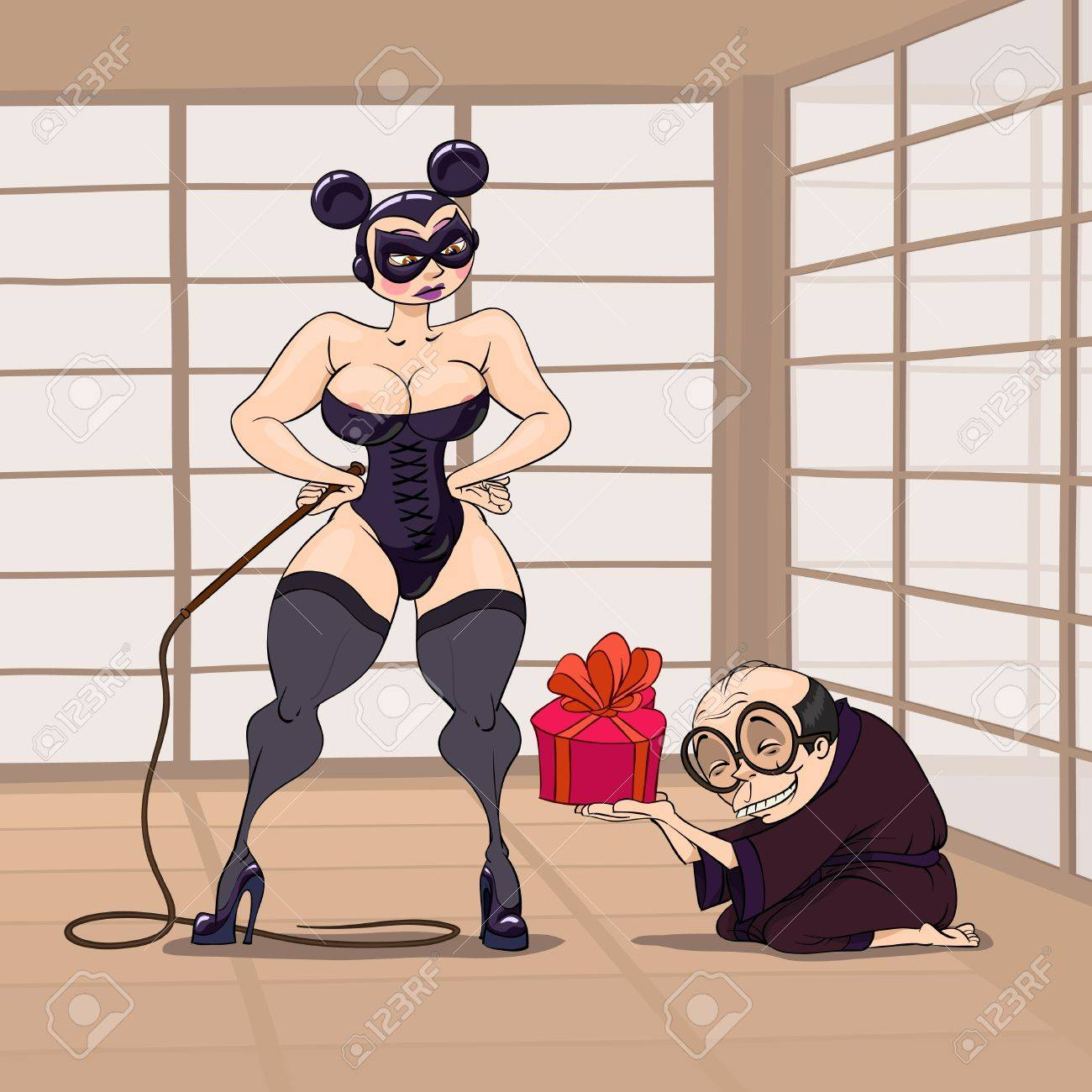 At Valentine's Day a Japanese take a gift to a BDSM dressed girl with a thong Stock Vector - 8541325
