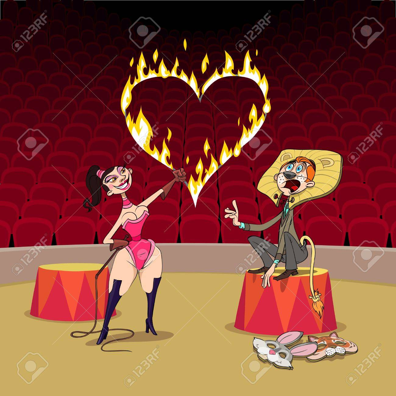 At Valentine's Day circus girl plays a predator training with her boyfriend. Stock Vector - 8668371