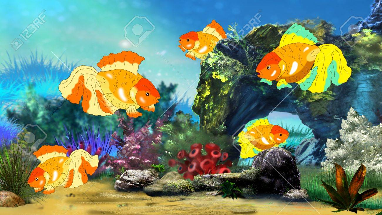 Fish tank painting - Goldfish In A Fish Tank Digital Painting Full Color Illustration Stock Illustration 58854450