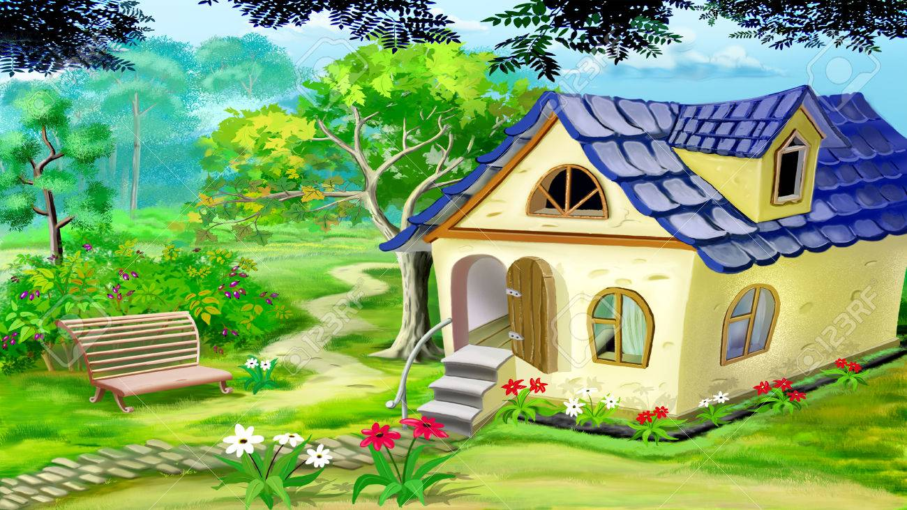 Digital Painting Of The Village Garden House In A Summer Day ...