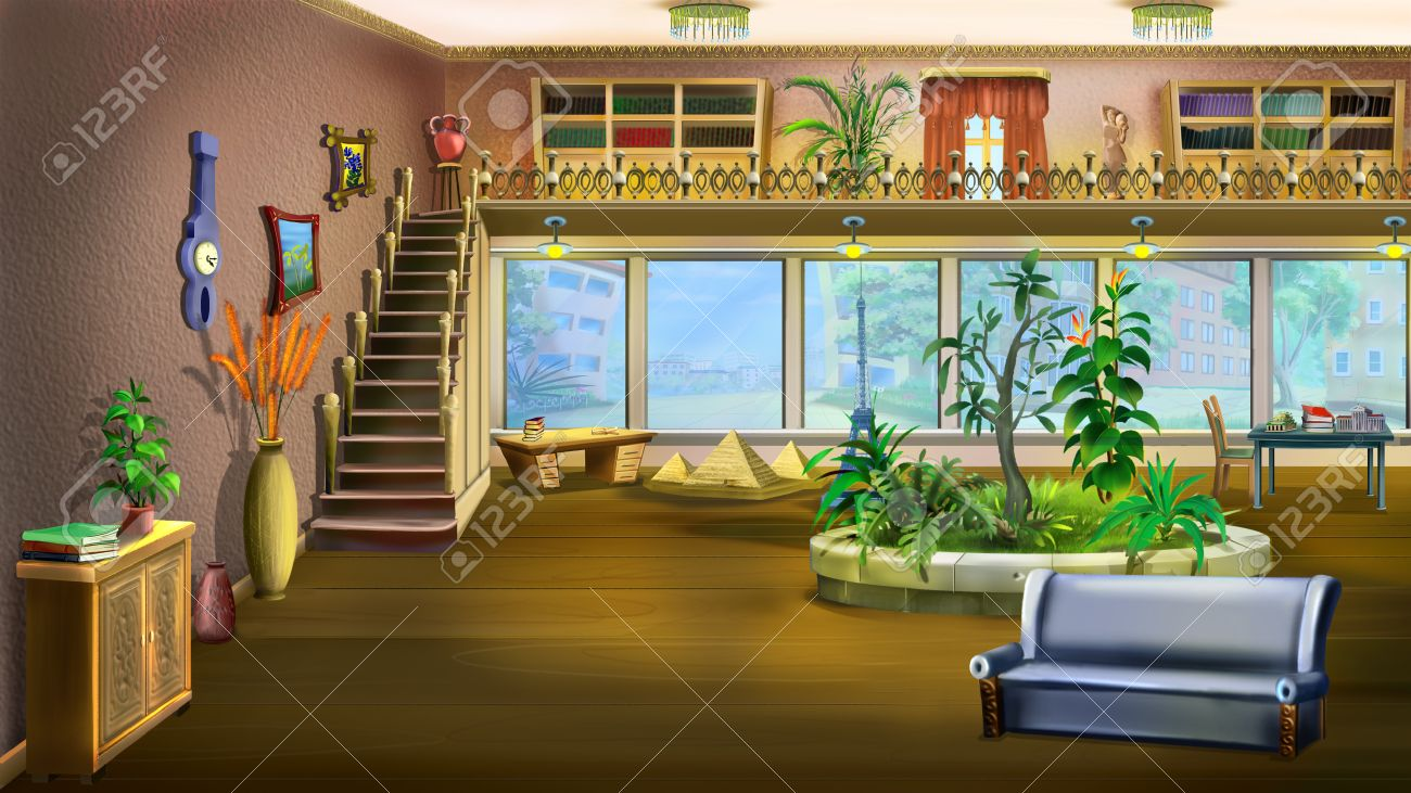 Digital Painting Cartoon Interior Design Of Vintage Living Room Background Stock Photo