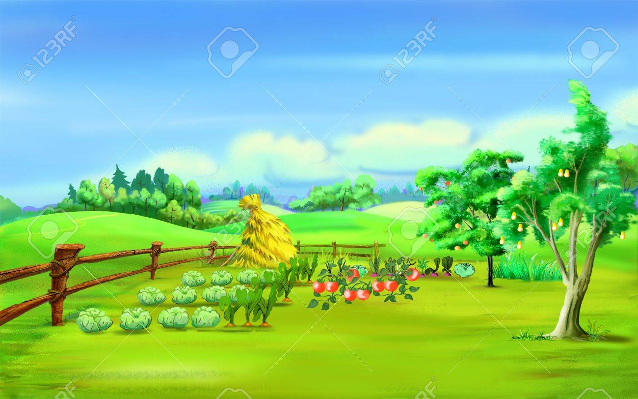 Garden Background Cartoon