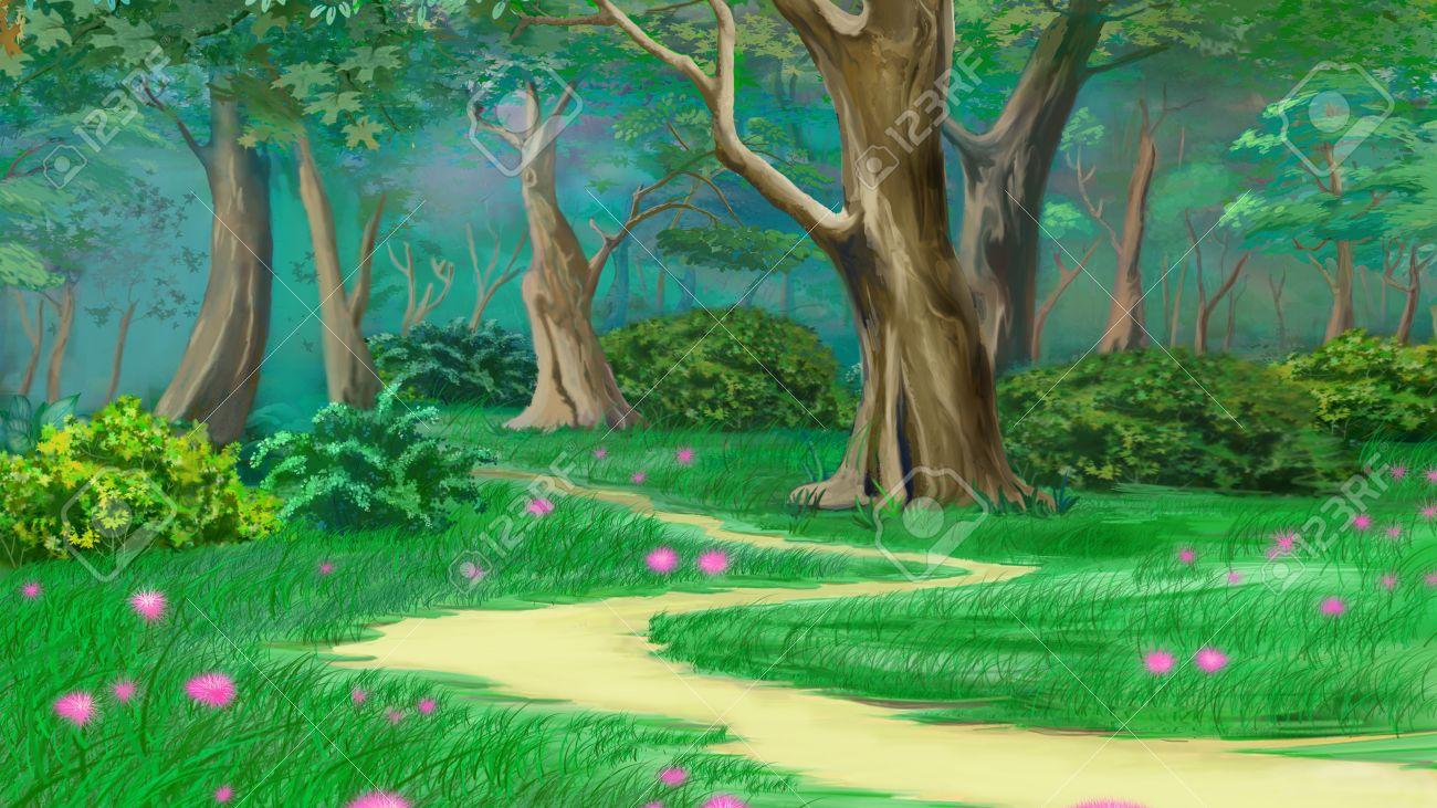妖精物語夏の森の小道。デジタル絵画の背景、スタイルの漫画の