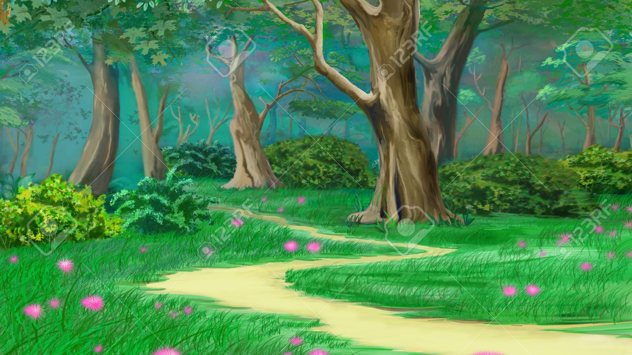 Footpath in a fairy tale summer forest digital painting footpath in a fairy tale summer forest digital painting background illustration in cartoon style baditri Images