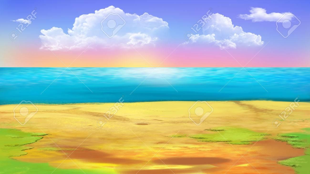 shore of the ocean coast of tropical island digital painting