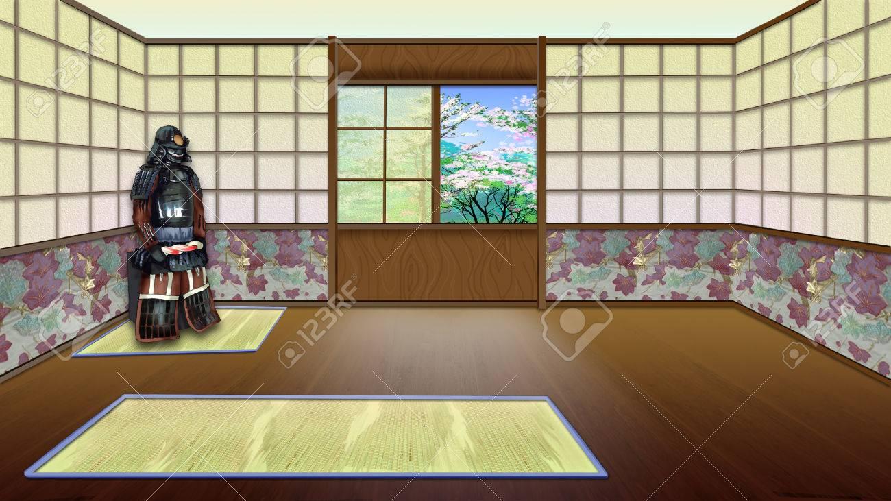 Grand Banque Du0027images   Chambre Traditionnelle Japonaise Intérieur. Fond De  Peinture Numérique, Illustration De Caractère De Style De Bande Dessinée.