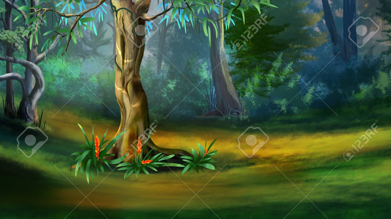 large tree in a dense forest in a summer day digital painting