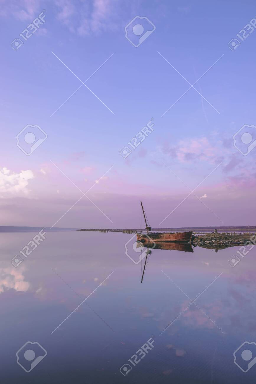 Panoramic View Of The Clouds Above The Water In A Pink And Purple Stock Photo Picture And Royalty Free Image Image 123722091