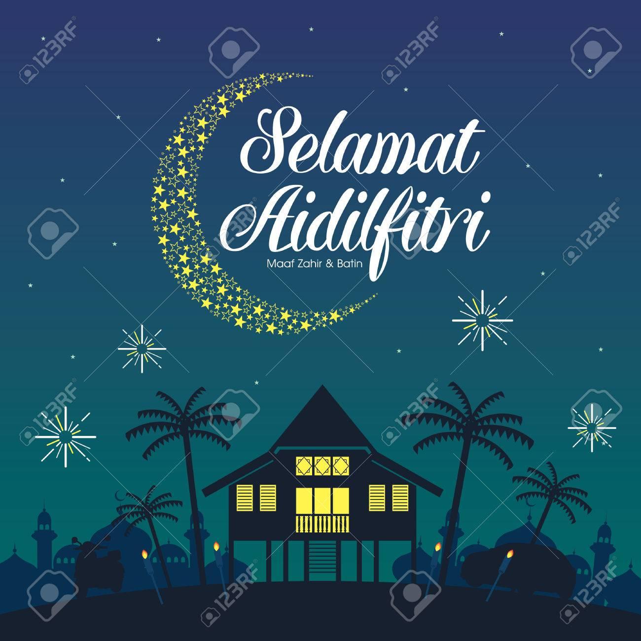Selamat Hari Raya Aidilfitri vector illustration with traditional malay village house / Kampung. Caption: Fasting Day of Celebration - 79013944