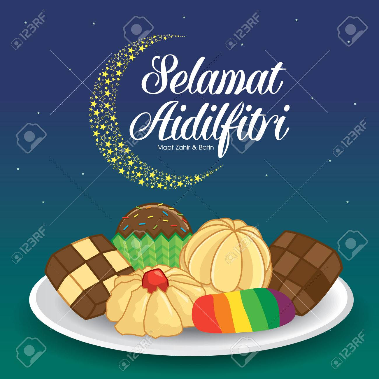 Selamat Hari Raya Aidilfitri vector illustration with traditional kuih raya. Caption: Fasting Day of Celebration - 79076424