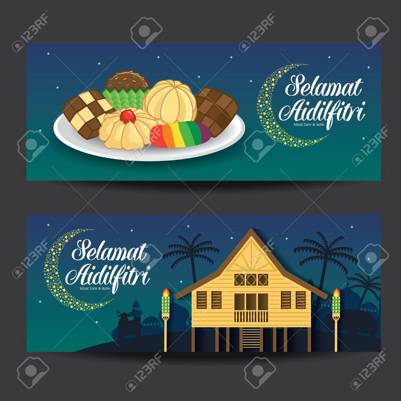 Selamat Hari Raya Aidilfitri vector illustration with traditional malay village house / Kampung & kuih raya. Caption: Fasting Day of Celebration - 80112864