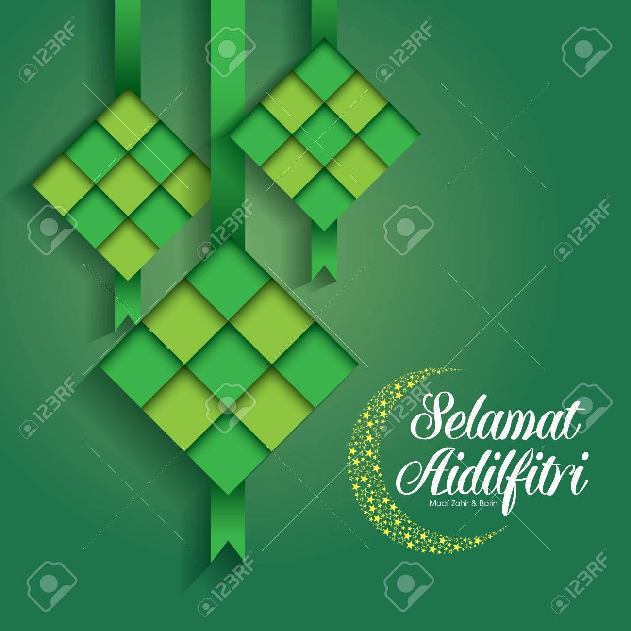 Selamat Hari Raya Aidilfitri vector illustration with traditional malay ketupat. Caption: Fasting Day of Celebration - 80112886