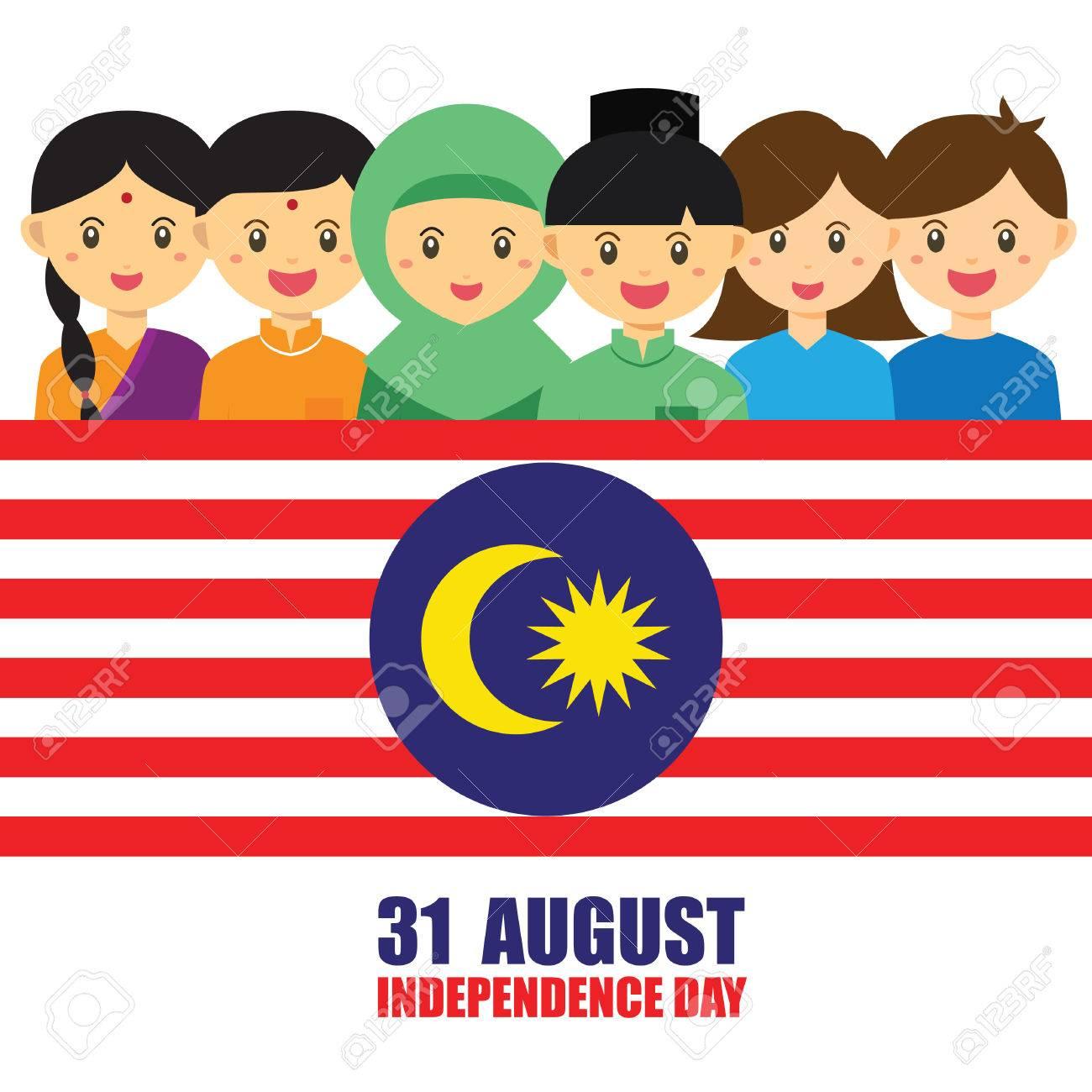 Ilustración Del Día Nacional / Independencia De Malasia. Niños ...