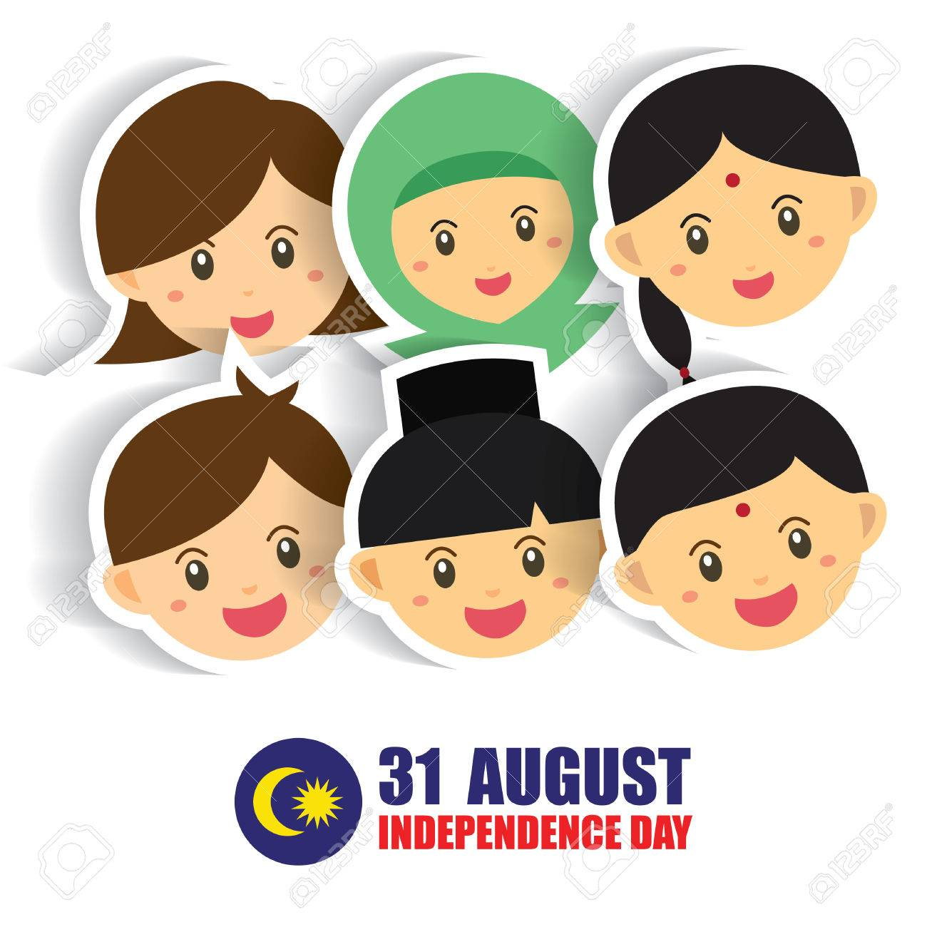 Malaysia National / Independence Day illustration. Cute cartoon character kids of Malay, Indian & Chinese hand in hand with Malaysia flag icon. 31 August, Merdeka. - 84222376