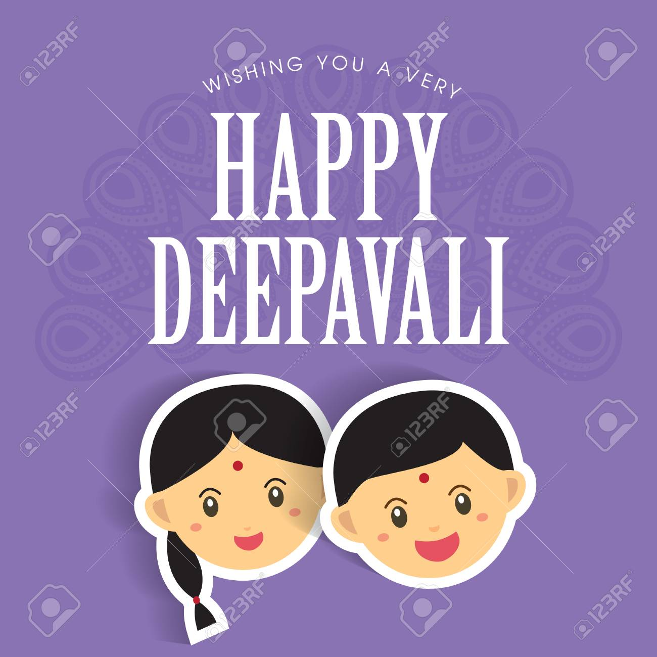 Diwali or deepavali greetings template with cute indian boy and diwali or deepavali greetings template with cute indian boy and girl vector illustration stock vector m4hsunfo