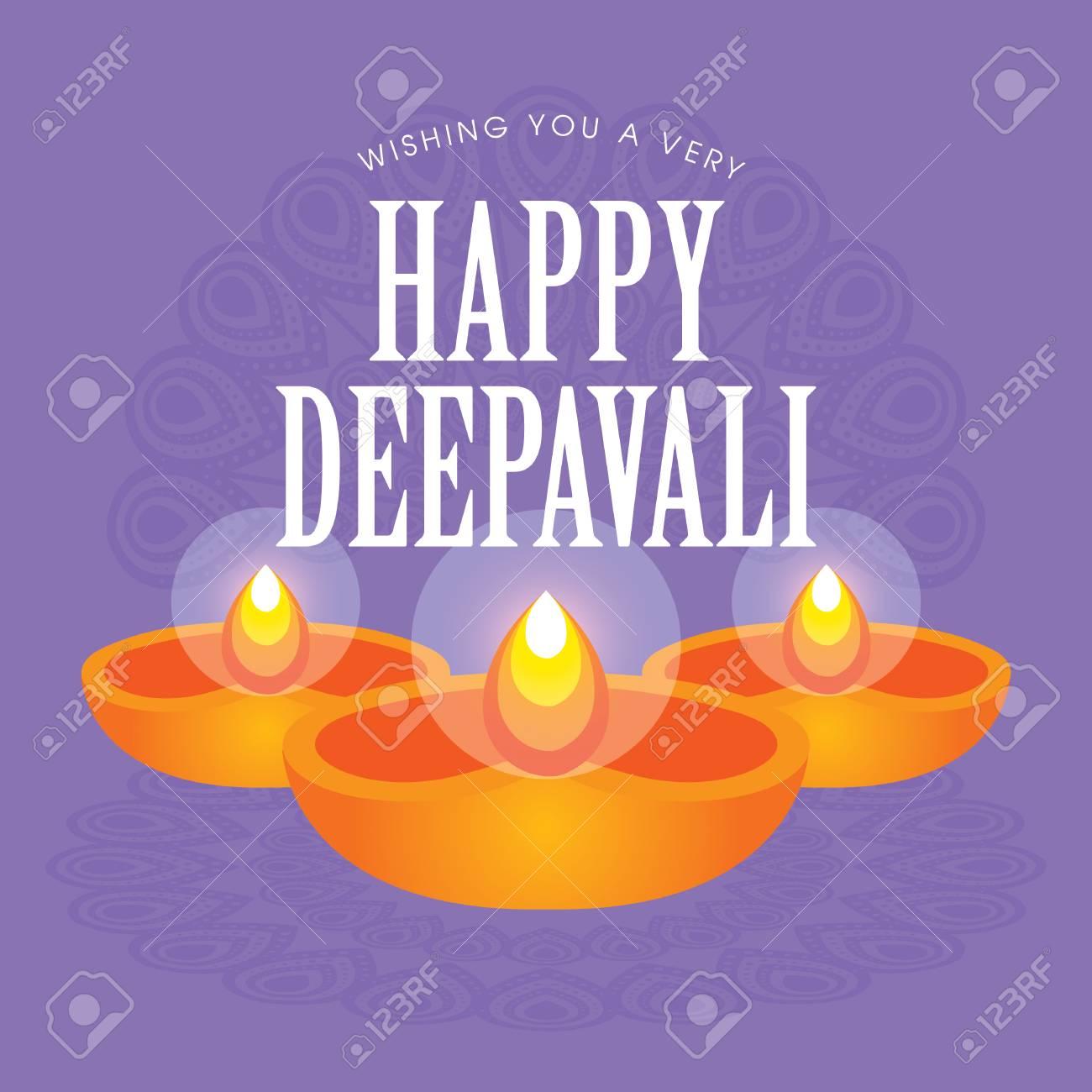 Diwali Or Deepavali Greetings Template With Beautiful Burning