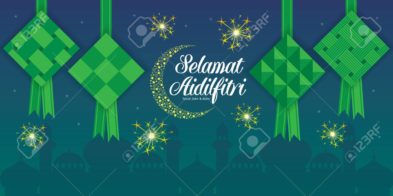 Selamat Hari Raya Aidilfitri vector illustration with ketupat with Islamic pattern and malay mosque as background. Caption: Fasting Day of Celebration - 102576530