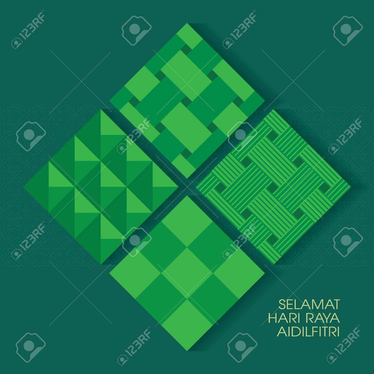 Selamat Hari Raya Aidilfitri vector illustration with ketupat with Islamic pattern as background. Caption: Fasting Day of Celebration - 102576531