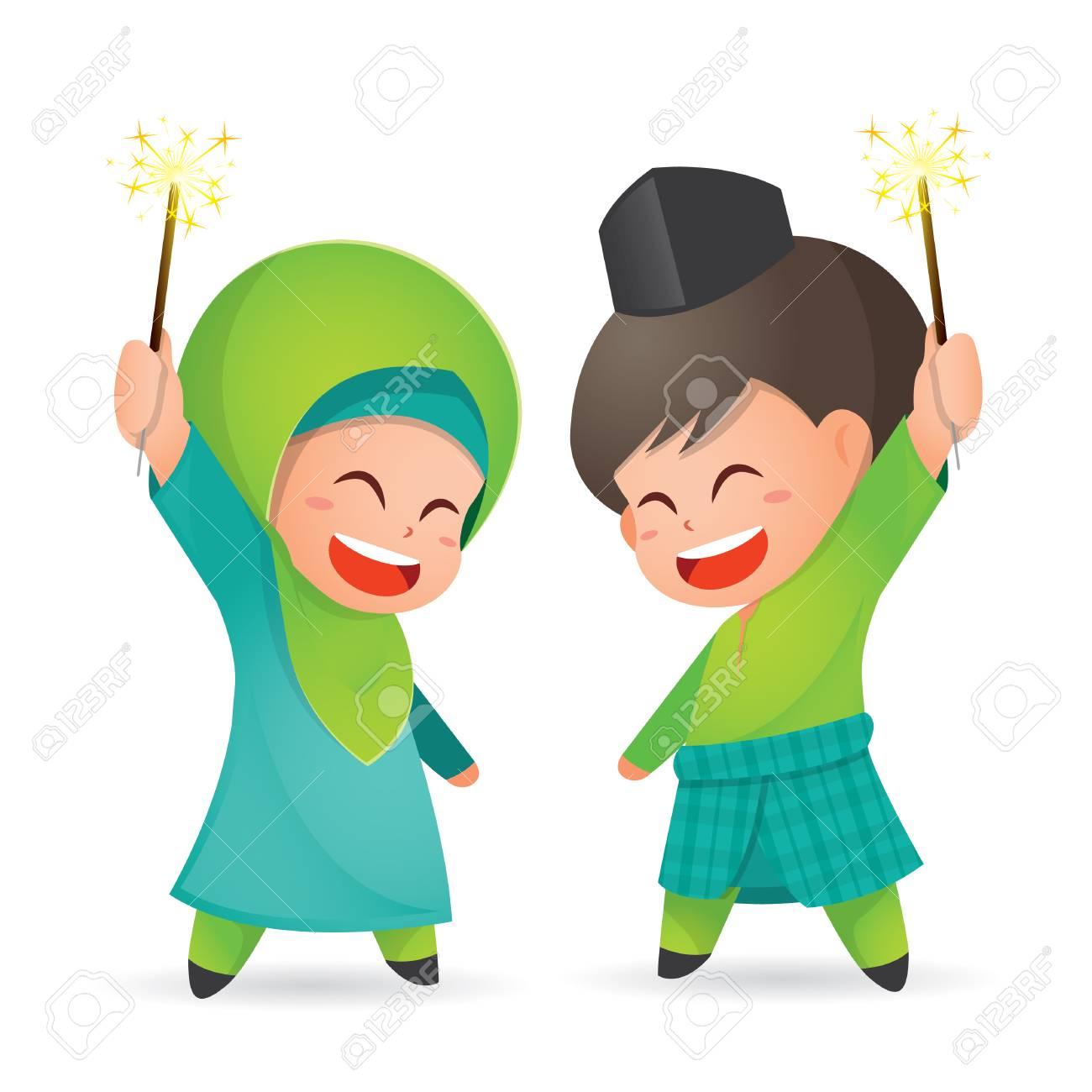 Selamat Hari Raya Aidilfitri vector illustration. Cute muslim kids having fun with sparklers - 102618267
