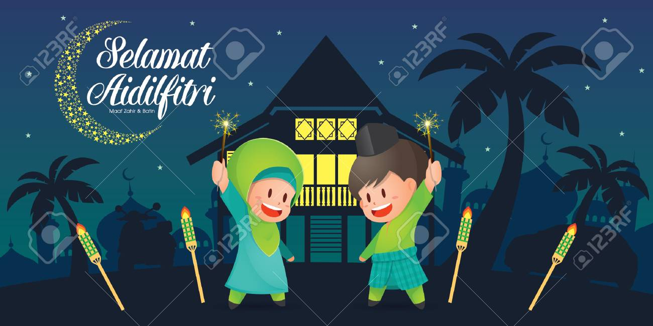 Selamat Hari Raya Aidilfitri vector illustration with cute muslim kids having fun with sparklers and traditional malay village house / Kampung and mosque. Caption: Fasting Day of Celebration - 102577062