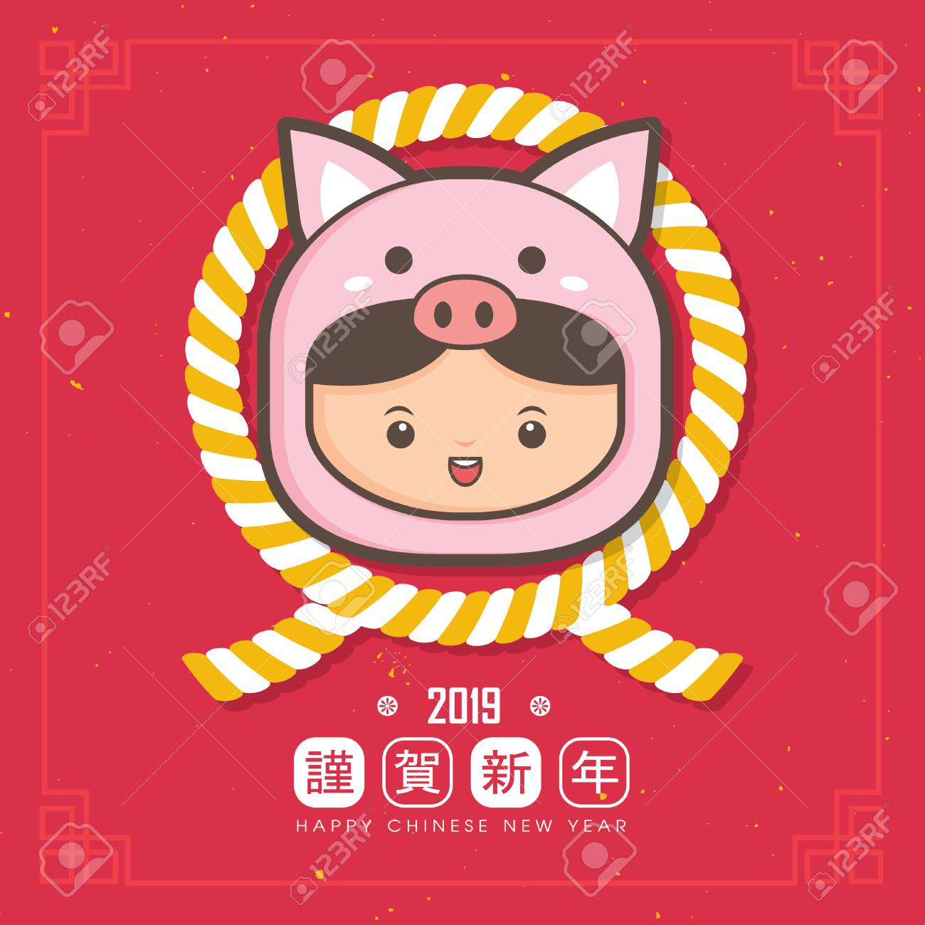 2019 chinese new year greeting card template cute children wearing a piggy costume